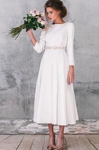 Natural Long Sleeve Taffeta Weddig Dress