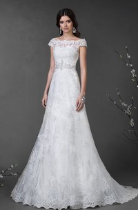 A-Line Floor-Length Off-The-Shoulder Cap-Sleeve Illusion Lace Dress With Appliques And Waist Jewellery