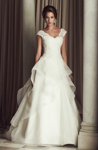 Cap Sleeved V-Neck A-Line Long Dress With Ruffle and Lace Bodice