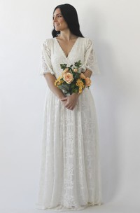 Illusion Half Bell Sleeve Brush Train V-neck A-line Lace Wedding Dress With Ruching Details
