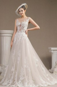 Illusion Top Cap Sleeve Lace Appliqued Ballgown Wedding Dress With Button Back