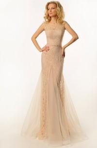 Sheath Scoop-Neck Sleeveless Long Tulle&Lace Prom Dress