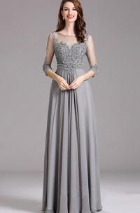 Empire Floor-Length Bateau 3 Empire Chiffon Beading Keyhole Dress