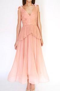 Salmon Blush Tea Length Wedding Gown Pleated Boho Style Bohemian Wedding Beach Wedding Wedding Gown Dress