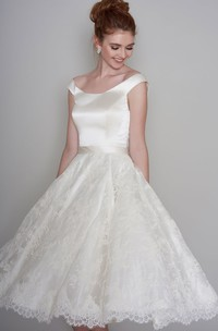 Simple Satin and Lace A-line Off-the-shoulder Tea-length Bridal Gown