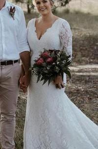 Vintage Lace V-neck Mermaid Floor-length Court Train Sleeve Wedding Dress