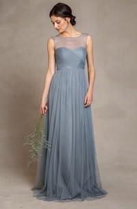 Sleeveless Bateau Neck Criss-Cross Empire Tulle Bridesmaid Dress