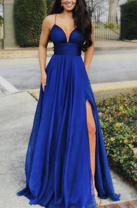 Elegant Plunging Front Split Spaghetti Sexy Dress With Sash And Pleats