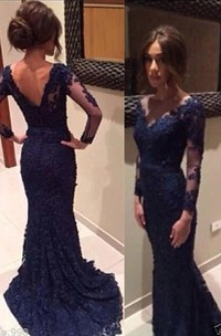 Gorgeous Long Sleeve Appliques Prom Dress 2018 Mermaid With Train