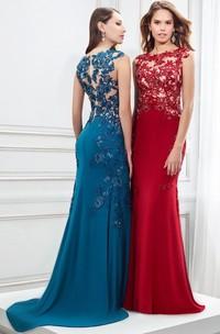 Cap Sleeve Appliqued Bateau Neck Jersey Prom Dress