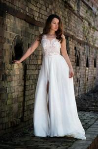 Sexy V-Neck Sleeveless Chiffon Wedding Dress With Split Side