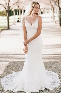 Mermaid Sheath V-neck Lace Floor-length Brush Train Sleeveless Wedding Dress