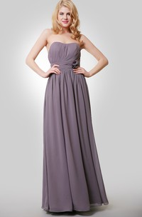 Chiffon A-Line Floor Length Dress With Flower and Pleat