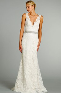 Stunning V-Neck Long Lace Gown With Crystal Embroidered Belt