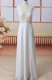Cap Sleeve Scoop Neck Front Split Lace Chiffon A-line Wedding Dress With Illusion Button Back