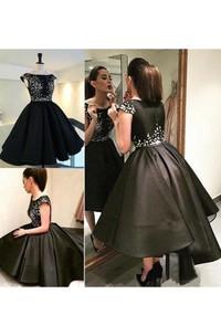 Ball Gown Bateau Short Sleeve Pleats Tea-length High-low Satin Homecoming Dress