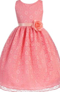 Sleeveless A-line Lace Dress With Flower
