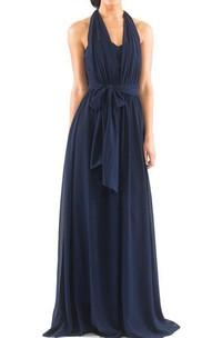 Halter Chiffon Long Bridesmaid Dress with Sash