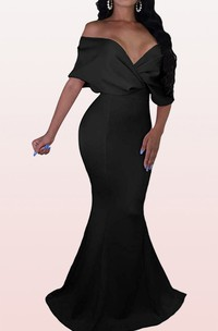 Mermaid Off-the-shoulder V-neck Satin Evening Dress With Criss Cross