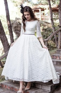 Tea-Length Scoop Neck Lace Dress With Low-V Back