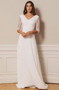 Bohemian Chiffon Lace V-neck A Line Floor-length Deep-V Back Wedding Dress