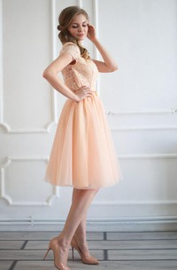 Layered Tulle Lace Top Dress
