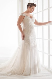 Lace Off-the-shoulder Sexy Trumpt Bridal Gown With Straps And Buttons V-back