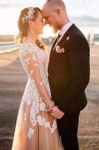 Long Sleeve A-line V-neck Long Lace Appliqued Dress