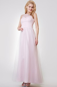 Sleeveless A-line Long Tulle Dress With Pleats