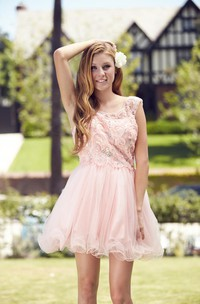 A-Line Mini Bateau Sleeveless Tulle Low-V Back Dress With Sequins And Beading