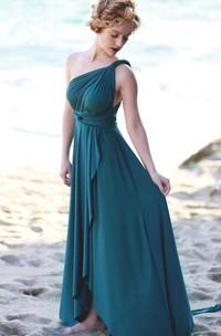 Tea-length Strapped Backless Jersey&Satin Dress
