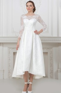 A-Line Long-Sleeve High-Low Scoop-Neck Lace Wedding Dress With Lace Up