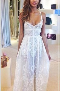 Glamorous Sleeveless Spaghetti Straps Prom Dress With Lace Floor Length Evening Gowns