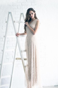 V-Neck Lace Weddig Dress With Appliques And Keyhole Back