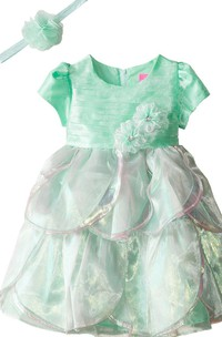 Short-sleeved Ruffled A-line Dress With Flowers and Bow
