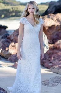 Elegant Lace V-neck Sheath Floor-length Low-V Back Wedding Dress