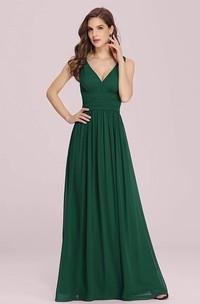 A Line V-neck Chiffon Sleeveless Evening Dress With Ruffles