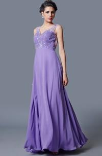 Ethereal Empire Waist Deep V-neck Princess Gown Elegant Beadwork Chiffon Skirt