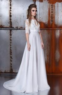 A-Line Bateau Half Sleeve Chiffon Lace Dress With Deep-V Back