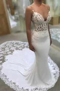 Lace Mermaid Plunging Spaghetti Wedding Dress With Cathedral Train