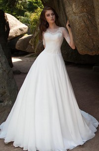 Ball Gown Long Bateau Short-Sleeve Illusion Chiffon Dress With Lace
