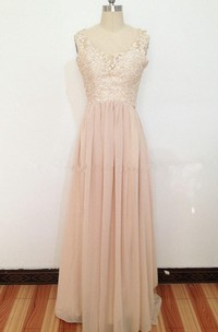 Maxi Lace Appliqued A-line Chiffon Dress With Illusion Back