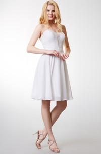 Dream Sleeveless Short Chiffon Dress With Satin Belt