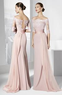 Sheath Half-Sleeve Off-The-Shoulder Appliqued Maxi Chiffon Prom Dress