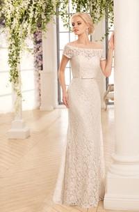 Sheath Maxi Off-The-Shoulder Illusion Lace Dress