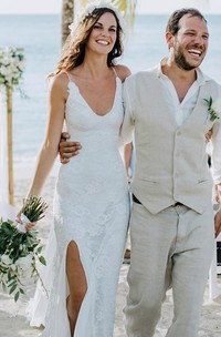 Sheath V-neck Lace Floor-length Sweep Train Sleeveless Wedding Dress with Split Front