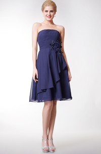 Cute Strapless Side Draped Knee Length Chiffon Dress With Flowers