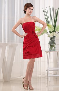 Strapless Ruched Mini Dress with Flower