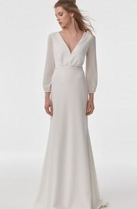 Simple Chiffon V-neck Sheath Long Sleeve Wedding Dress with Lace Cowel Back