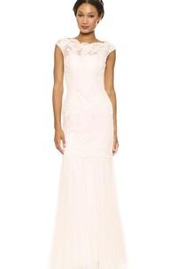 Bateau Neckline Sheath Lace Floor-length Dress With Keyhole Back Style